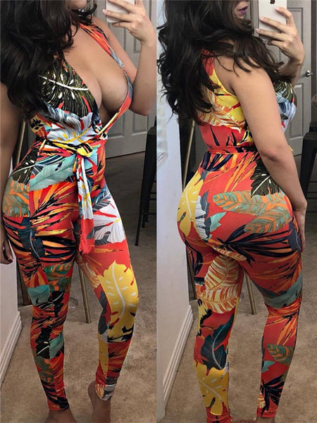 Plunging Neckline Sleeveless Printed Sexy Jumpsuit