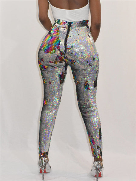 High Waist Sequined Sexy Club Pants