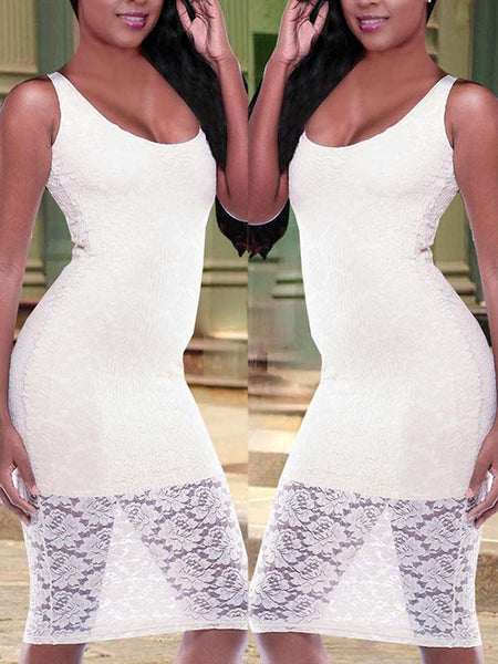 Lace Patchwork Sleeveless Sexy Midi Dress