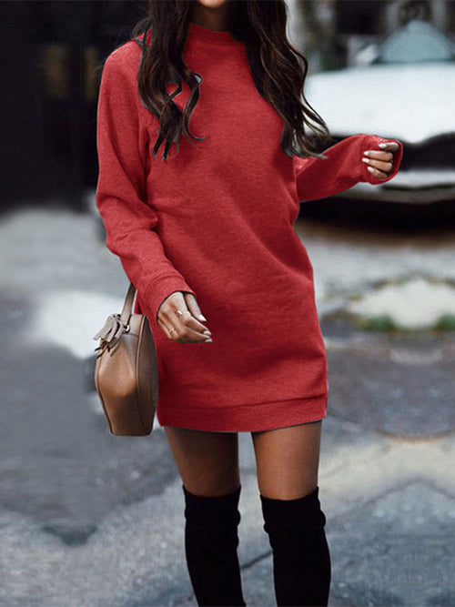 Solid Color Round Neck Long Sleeve Casual Dress