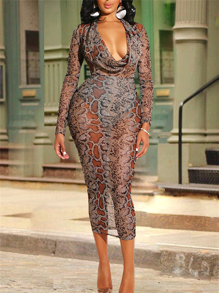 Cowl Neck Snake Print Long Sleeve Midi Dress