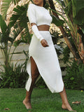 Side Slit Cutout Sleeve Solid White Two Piece Dress