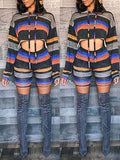 Hooded Collar Long Sleeve Stripe Print Two Piece Sets
