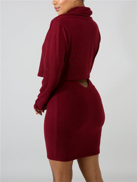 Solid Color Cowl Neck Long Sleeve Two Piece Dress