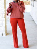 Solid Color Ruffled Sleeve Casual Sweatshirt