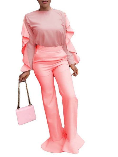 Solid Color Ruffled Top & Flare pants