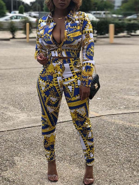 Digital Print Long Sleeve Two Piece Sets