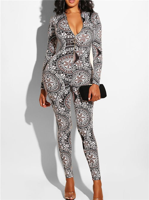 Printed V Neck Long Sleeve Sexy Jumpsuit