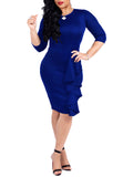 Plus Size Half Sleeve Fungus Edge Solid Color Midi Dress