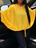 Solid Color Bat-wing Sleeve Drawstring Round Neck Sweater