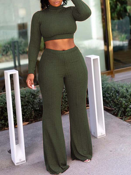 High Neck Long Sleeve Top & Solid Flare Pants