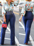 Gold Chain Decorated High Waist Casual Wide leg Pants