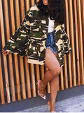 Flare Sleeve Camouflage Print Button Up Casual Coat