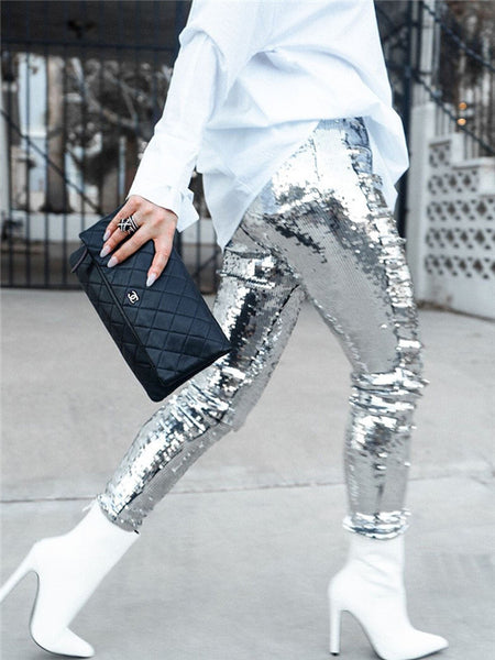 High Waist Silver Sequined Sexy Club Pants