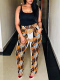 Printed Pocket Casual Two Piece Outfits