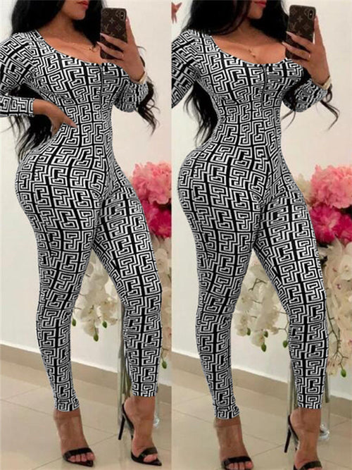 Long Sleeve Zip Up Printed Sexy Jumpsuit