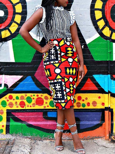 Digital Print Mixed Color Skirt
