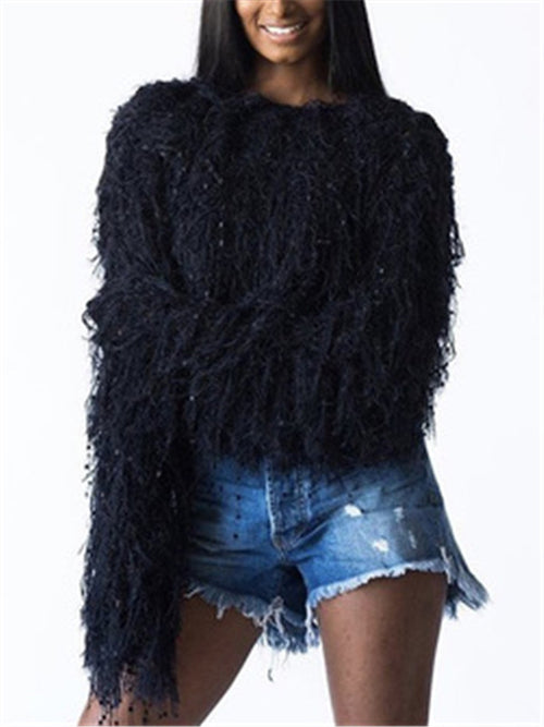 Tassels Solid Color Long Sleeve Sweater