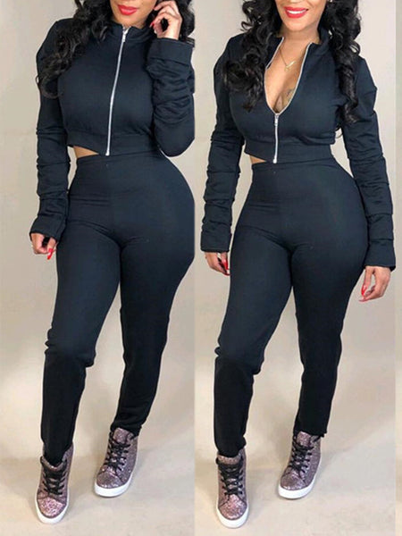 Zipper Up Solid Color Long Sleeve Casual Two Piece Sets