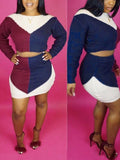 Color Block Long Sleeve Two Piece Mini Dress