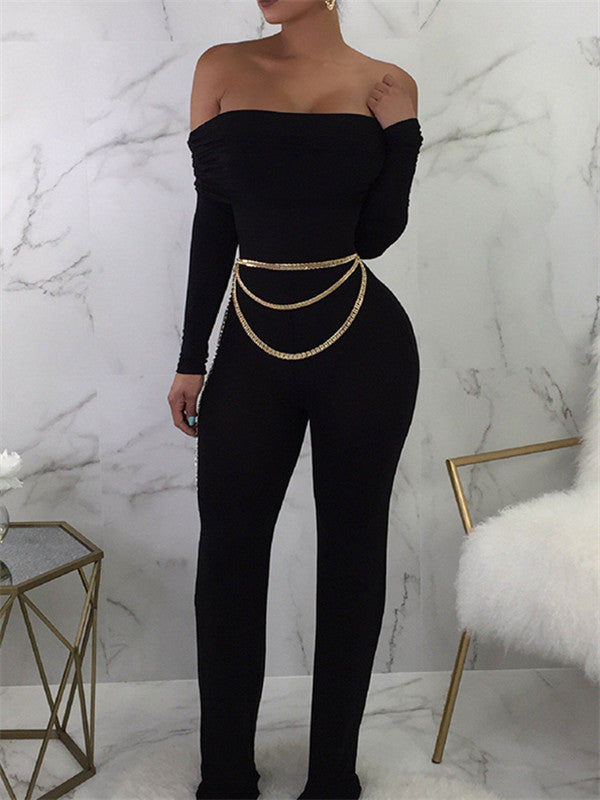 Off the Shoulder Chain Decor Long Sleeve Jumpsuit