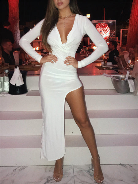 Plunging Neckline Solid White Asymmetric Dress