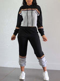 Color Block Stripe Patchwork Hooded Collar Two Piece Sets