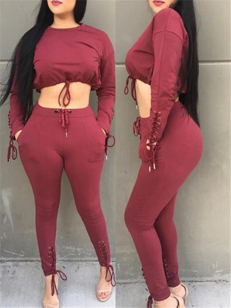 Lace Up Drawstring Crop Two Piece Sets