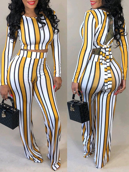 Stripe Print Long Sleeve Back Bandage Two Piece Outfits