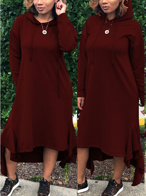 Hooded Collar Solid Color Long Sleeve Asymmetric Casual Dress