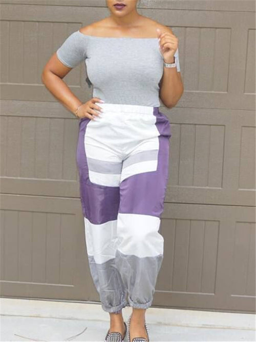 Color Block Elastic Waist Casual Pants