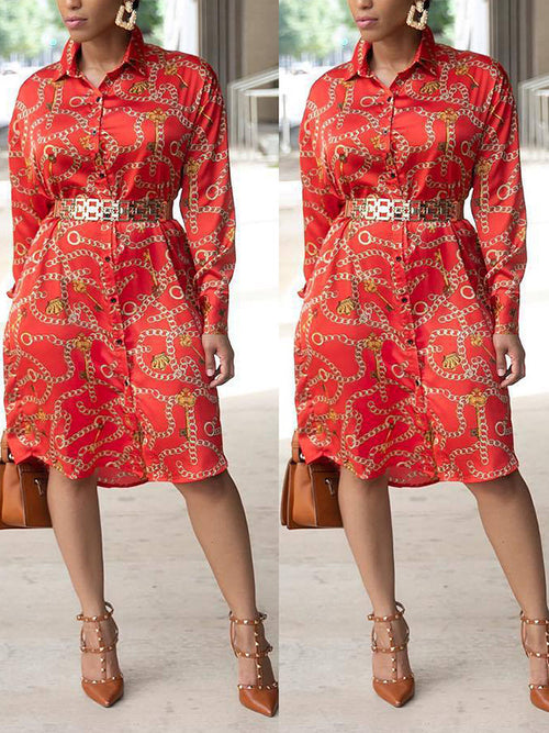 Chain Print Long Sleeve Button Up Shirt Dress