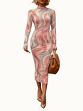 Back Zipper Digital Print High Neck Midi Dress