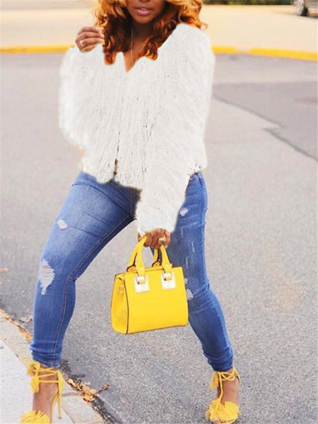 Solid White Long Sleeve Sweater Coat