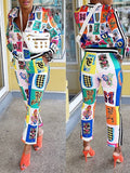 Digital Print Zipper Up Long Sleeve Two Piece Outfits