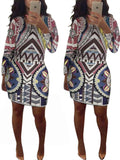 Round Neck Printed Long Sleeve Mini Dress