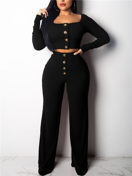 Square Neck Long Sleeve High Waist Two Piece Sets
