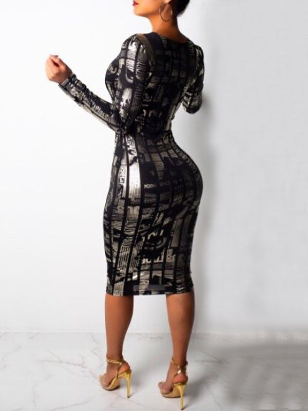 Digital Print Scoop Neck Long Sleeve Midi Dress