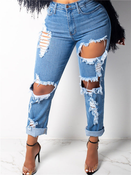 Hollow Out High Waist Denim Blue Jeans
