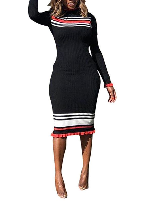 Ribbon Patchwork Long Sleeve Midi Dress