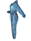 Turndown Collar Long Sleeve Printed Drawstring Waist Jumpsuit