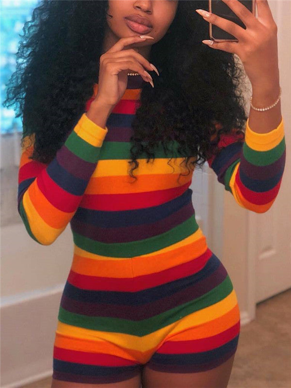 Rainbow Striped Long Sleeve Mini Romper