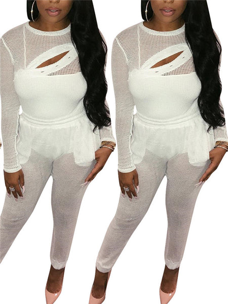 See Through Solid White Long Sleeve Sexy Two Piece Sets