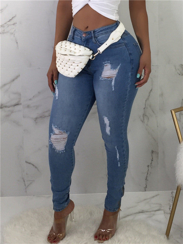 High Waist Distressed Denim Blue Jeans