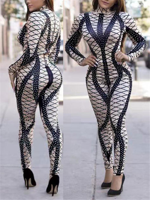 High Neck Long Sleeve Sexy Jumpsuit
