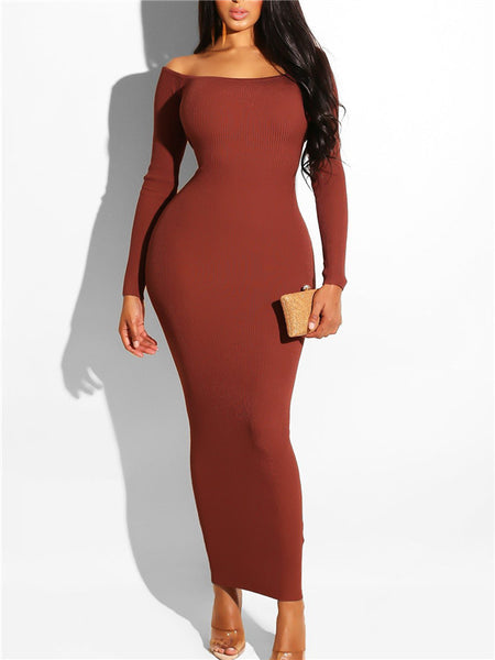 Off the Shoulder Open Back Long Sleeve Maxi Dress