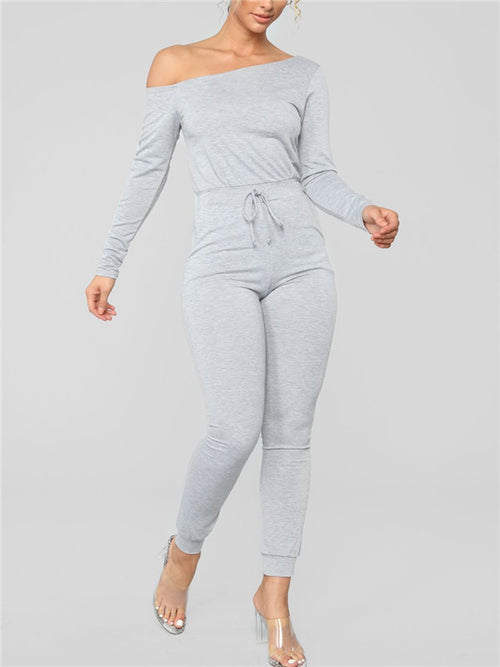 Drawstring Waist Off the Shoulder Long Sleeve Jumpsuit