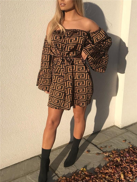 Off the Shoulder Flare Sleeve Printed Mini Dress