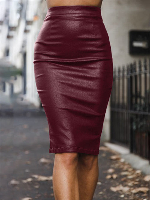 High Waist Solid Color PU Leather Skirt