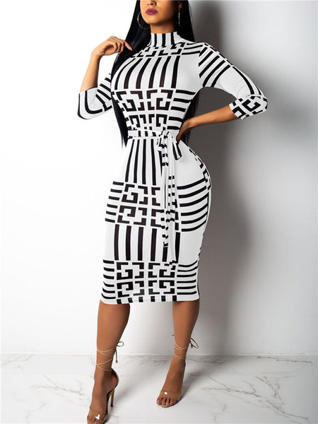 Printed High Neck Belted Midi Dress